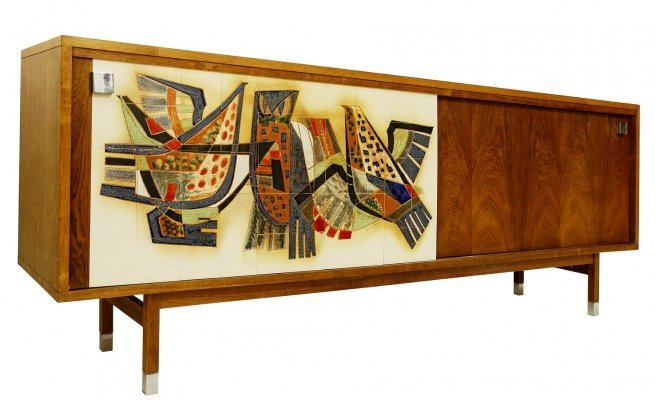 Alfred Hendrickx Sideboard for Belform With Signed Tiles by Sinclerc, Ca.1960