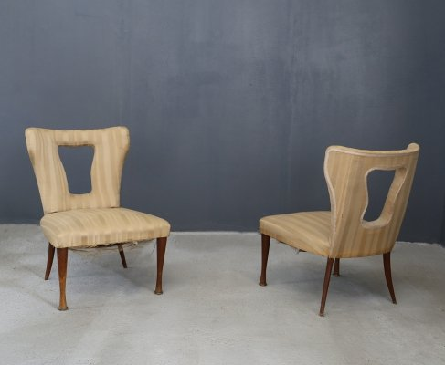 Pair of Mario Gottardi armchairs in velvet silk, 1950s