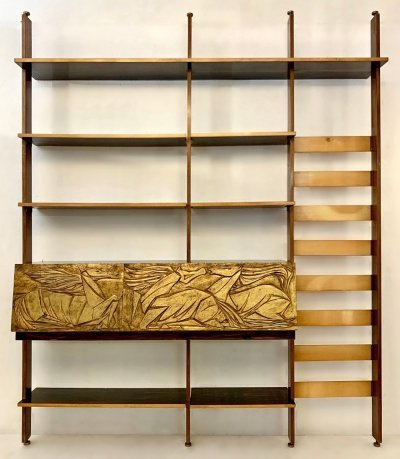 Italian Floor To Ceiling Wall Unit / Bookshelf, 1950s