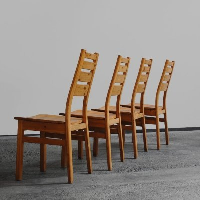 Set of 4 dining chairs by Laukaan Puu, Finland 1970s