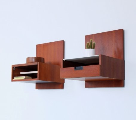 Pair of teak EU11 / NU11 Japanese series wall consoles by Cees Braakman for Pastoe