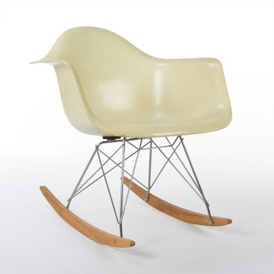 Parchment Venice Label Herman Miller Original Eames RAR Rocking Arm Chair