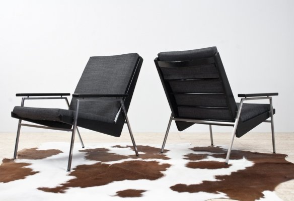 Black & white 'Lotus' armchairs by Rob Parry for Gelderland, 1960s