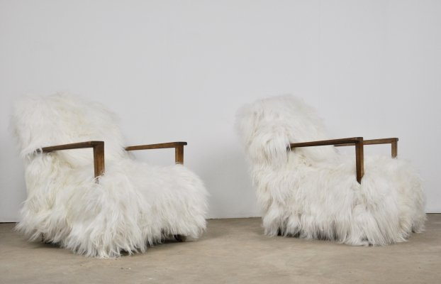 Pair of sheepskin armchairs, 1960s