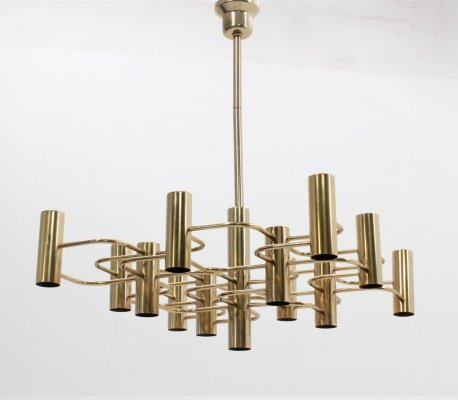 Vintage large 13 lights brassed chandelier by Gaetano Sciolari, 1970s