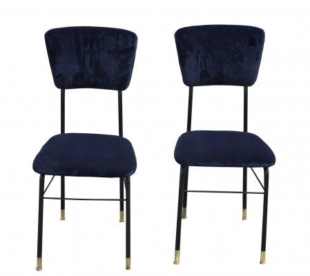 Pair of chairs in painted metal & blue velvet, 1960's