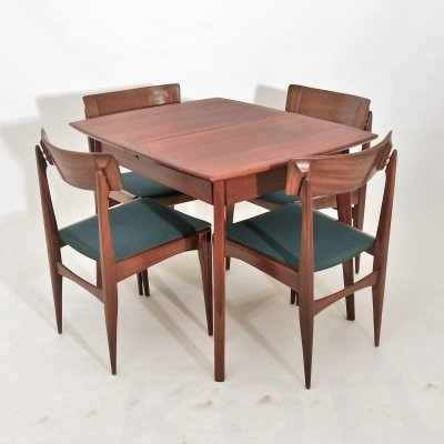 Extendable (4 to 6 seats) dining set, 1960s
