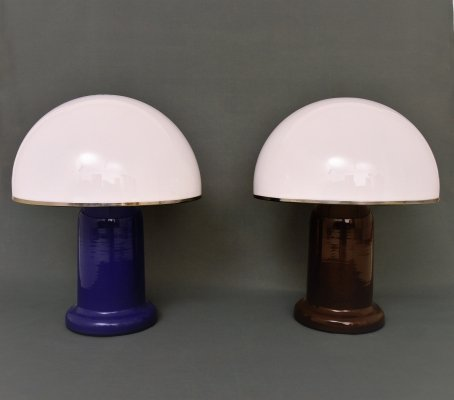 Pair of Desk lamps with metal body & perspex shade, 1970s