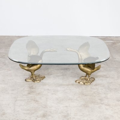 70s Sculptural 'goose' coffee table with glass table top