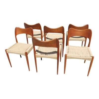 Set of Danish teak & cord chairs by Arne Hovmand Olsen for Mogens Kold