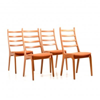 Set of 4 Kai Kristiansen Dining Chairs in Teak, 1960s