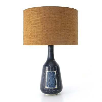 Midcentury blue glazed ceramic Italian table lamp, 1950s