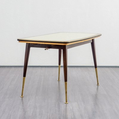 1950s height-adjustable table with glass top