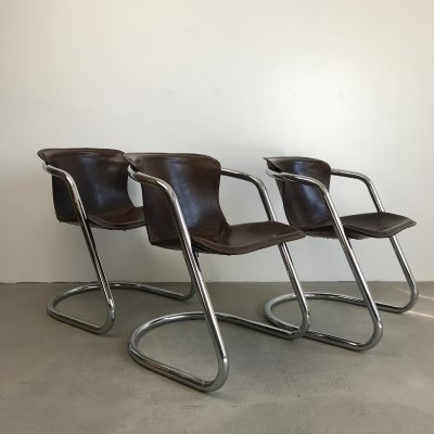 Willy Rizzo Saddle Leather Cantilever Chairs, 1970s
