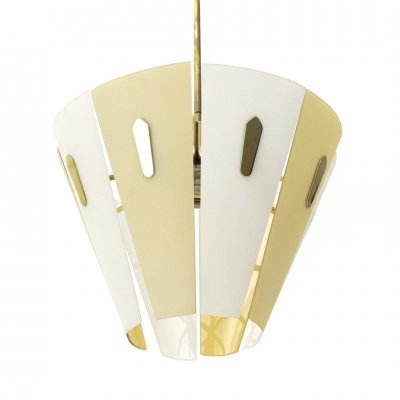 Midcentury Italian pendant lamp with brass, white & yellow glass diffuser, 1950s