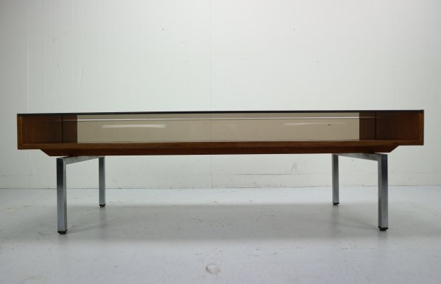 Mid-Century Modern Design Coffee Table with Smoked Glass & Rosewood, 1970s