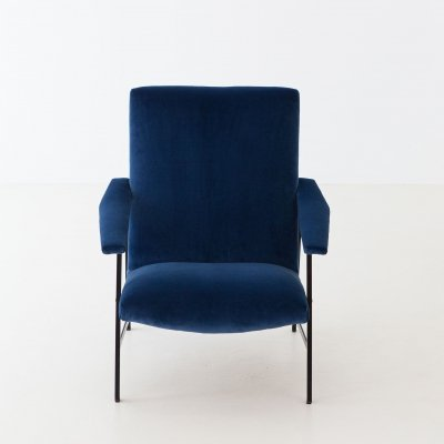 Italian Blue Velvet & Black Iron Armchair, 1950s