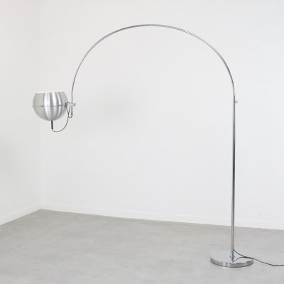 Rare labeled arc floor lamp by Raak Amsterdam, 1960s/1970s