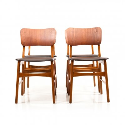 Set of 4 Danish Dining Chairs in Teak & Beech, 1950s