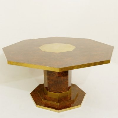 Jean Claude Mahey Cedar Burl Veneer And Brass Octagonal Dining Table, 1970s