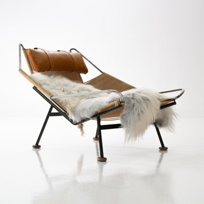 Early Flag Halyard GE225 Chair with Wooden Feet by Hans Wegner for Getama, Denmark 1950s
