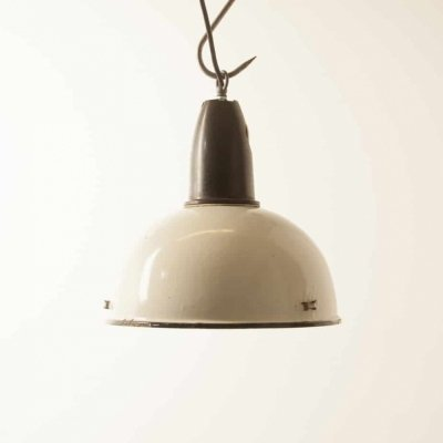 Cream enamel CCCP hanging lamp