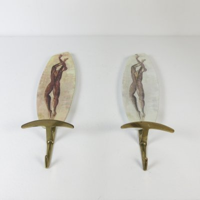 Pair of Italian coat hooks, 1960s