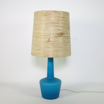 Blue glass Holmegaard table lamp, 1960s