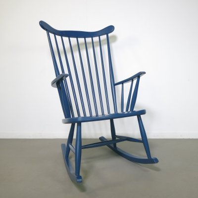 Original blue Grandessa rocking chair by Lena Larsson for Nesto, 1960s