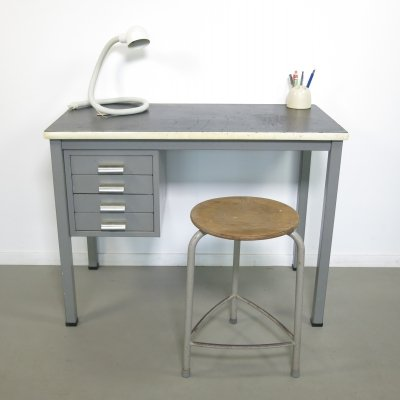 Small industrial steel desk by Gispen, 1960s