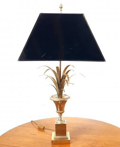 Brass & silver pineapple lamp by Boulanger, Belgium 1970s
