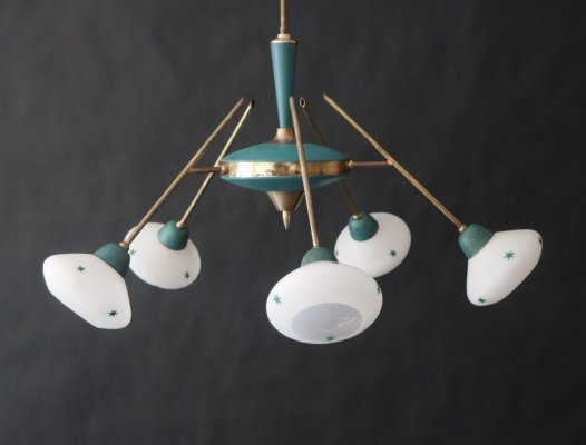 Green chandelier with opaline lampshades & white-green stars, 1950s