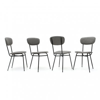 Set of 4 black metal & gray fabric dining chairs, 1950s