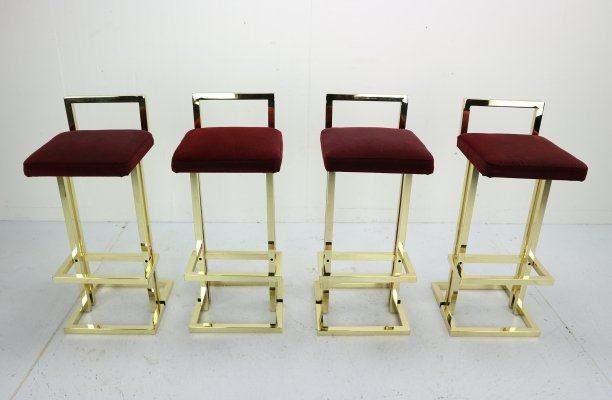 Set of 4 Brass Bar Stools by Maison Jansen, France 1970s