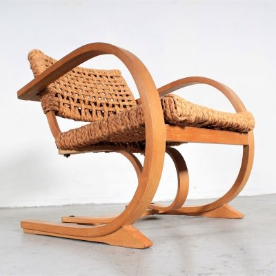 Original easy chair by Bas van Pelt with oak wood & raffia rope