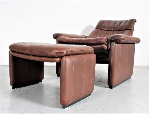 Brown leather DS-55 Lounge chair with ottoman by De Sede, 1960s