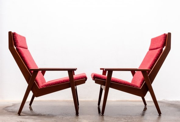 Pair of Lotus lounge chairs by Rob Parry for De Ster Gelderland, 1950s
