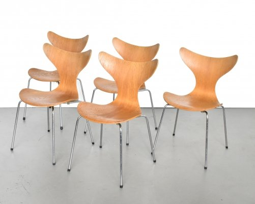 Set of 5 Seagull model 3108 dining chairs by Arne Jacobsen for Fritz Hansen, 1970s