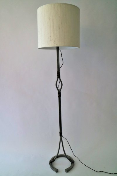 Metal Standing lamp by Jacques Adnet with leather details & silk lampshade, 1950s