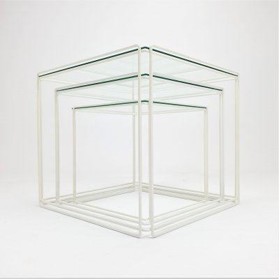Max Sauze Isocele nesting tables in white & clear glass, 1970s