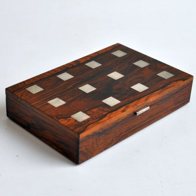 Rosewood box with silver inlay by Hans Hansen