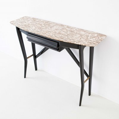 Italian Wood Brass & Onix Marble Console Table from 'LA Permanente Cantu'