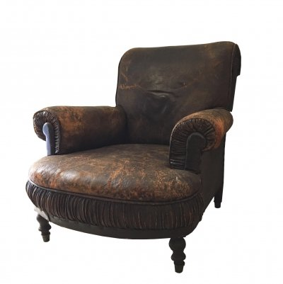 1930s Club Armchair with Original Brown Leather