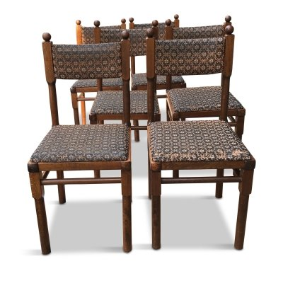 Set of 6 Vintage Czech Oak Dining Chairs from Drevounia, 1980s