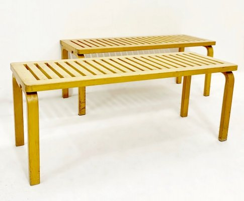 Set of 2 'Model 153' Benches in Birch by Alvar Aalto for Artek, 1940s