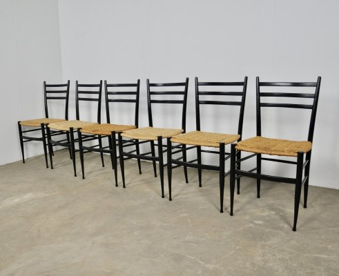 Set of 6 Italian Chiavari Spinetto Dining Chairs, 1950s