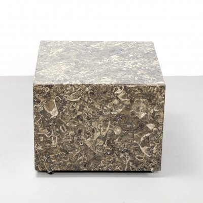 Italian design Fossil Marble cube side table, 1970's