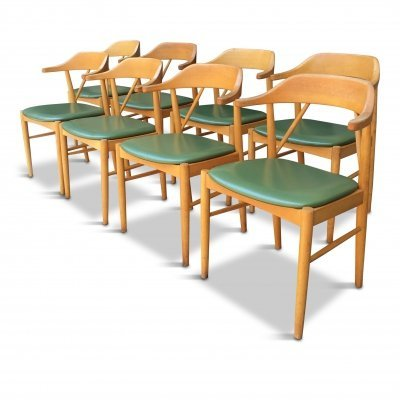 8 Mid-Century Swedish Beech Wood Dining Chairs by Ferdinand Lundquist for Gemla Diö