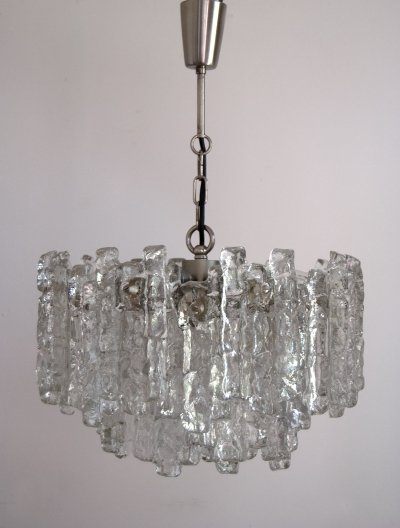 Ice Glass Chandelier by JT Kalmar for Kalmar, 1960s
