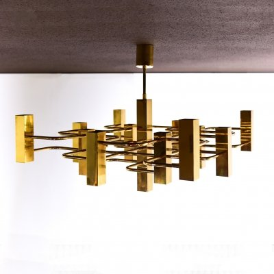 Brass plated Sciolari ceiling lamp by Boulanger, 1960s